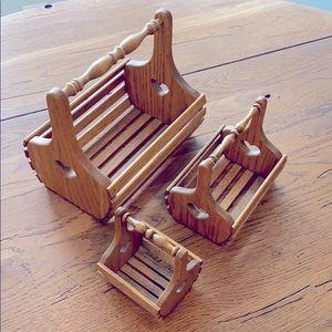 Amish made oak baskets